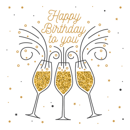 Buon compleanno. Timbro, badge, adesivo, carta con bicchieri di Champagne. Vettore. Design tipografico vintage per inviti, emblema di festa di compleanno in stile retrò