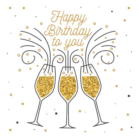 Feliz cumpleaños a ti. Sello, placa, pegatina, tarjeta con copas de champán. Vector. Diseño tipográfico vintage para invitaciones, emblema de celebración de cumpleaños en estilo retro