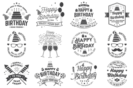 Set of Happy Birthday templates for overlay, badge, sticker, card with bunch of balloons, gifts, firework rockets and birthday cake with candles. Vector. Vintage design for birthday celebration