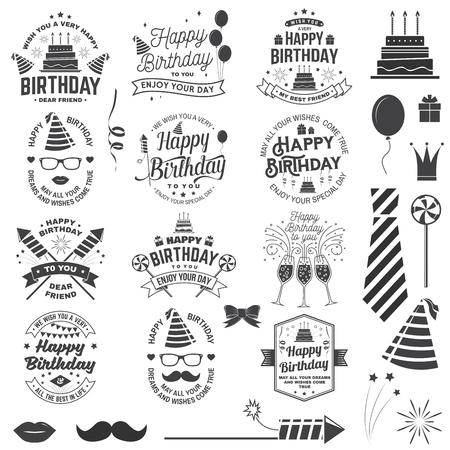 Conjunto de plantillas de feliz cumpleaños para superposición, insignia, pegatina, tarjeta con montón de globos, regalos, cohetes de fuegos artificiales y pastel de cumpleaños con velas. Vector. Diseño vintage para celebración de cumpleaños.