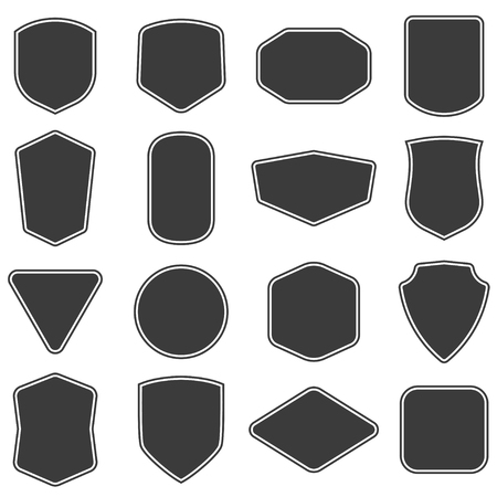 Set of vitage label and badges shape collections. Vector. Black template for patch, insignias, overlay.
