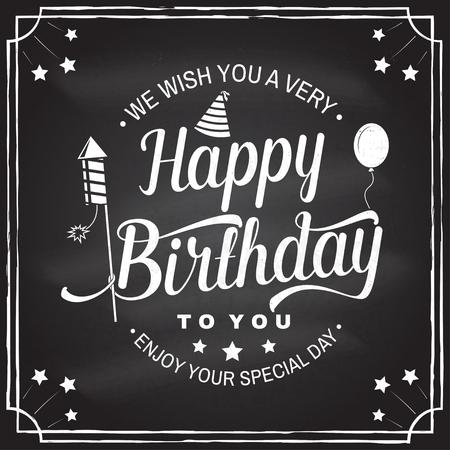 Te deseamos un muy feliz cumpleaños. Sello, insignia, pegatina, tarjeta con globo de aire, cohetes de fuegos artificiales y gorro de cumpleaños. Vector. Diseño vintage para emblema de celebración de cumpleaños en estilo retro