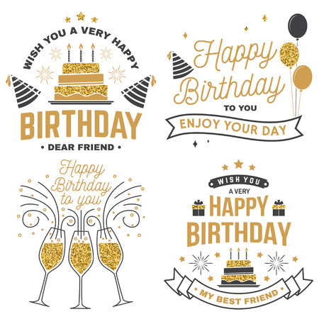 Wish you a very happy Birthday dear friend. Badge, card, with birthday hat, firework and cake with candles. Vector. Set of vintage typographic design for birthday celebration emblem Çizim