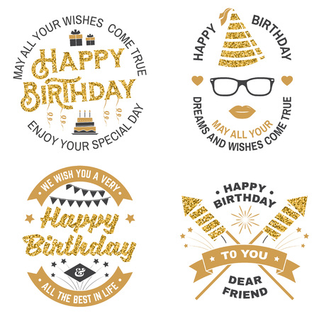 Set of Happy Birthday templates for overlay, badge, card with bunch of balloons, gifts, firework rockets and birthday cake with candles. Vector. Vintage design for birthday celebration