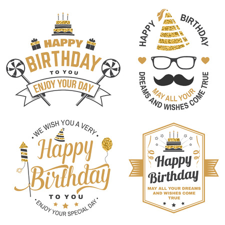 Wish you a very happy Birthday dear friend. Badge, card, with birthday hat, firework, mustache and cake with candles. Vector. Set of vintage typographic design for birthday celebration emblem Stockfoto - 114307136