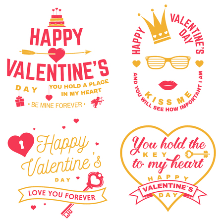 Set of Happy Valentines Day sign. Stamp, card with key, bird, amur, arrow, heart. Vector. Vintage typography design for invitations, Valentines Day romantic celebration emblem in retro style.