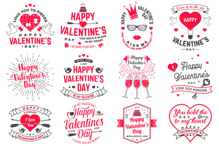 Set of Happy Valentines Day sign. Stamp, card with key, bird, amur, arrow, heart. Vector. Vintage typography design for invitations, Valentines Day romantic celebration emblem in retro style. Stockfoto - 115564594