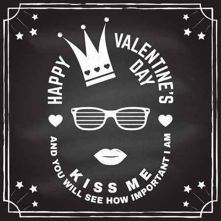 Happy Valentines Day. Stamp, overlay, badge, card with crown, lips and glasses. Vector. Vintage typography design for invitations, Valentines Day romantic celebration emblem in retro style Stockfoto - 115564599