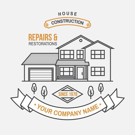 Identité de l'entreprise de construction de maisons avec maison américaine de banlieue. Illustration vectorielle. Insigne de ligne mince, signe pour les entreprises liées à l'immobilier, au bâtiment et à la construction. Vecteurs