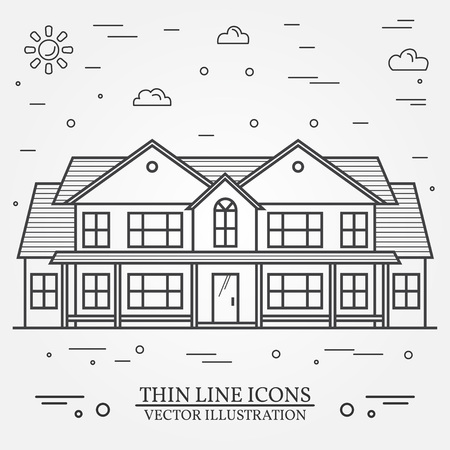 Vector thin line icon suburban american house. For web design and application interface, also useful for infographics. Vector dark grey. Vector illustration.