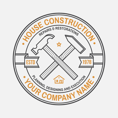 House construction company identity with crossed hammers. Vector illustration. Thin line badge, sign for real estate, building and construction company related business. Иллюстрация