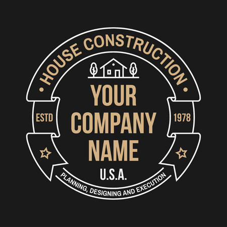 House construction company identity with suburban american house. Vector illustration. Thin line badge, sign for real estate, building and construction company related business.