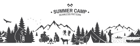 Summer camp seamless pattern. Vector illustration. Outdoor adventure background for wallpaper or wrapper. Seamless scene with mountains, bear, dog, girl, man with guitar sitting around campfire. Ilustração