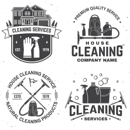 Cleaning company badge, emblem. Vector illustration. Concept for shirt, stamp or tee. Vintage typography design with cleaning equipments. Cleaning service sign for company related business Stock Vector - 115981625