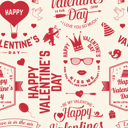 Happy Valenyines day background or wallpaper. Vector. Design for banner, print with heart and key, bird, amur, arrow. Vector. Valentines day seamless pattern for february 14 celebration Stockfoto - 115981641