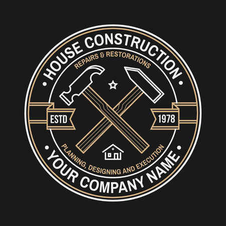 House construction company identity with suburban american house. Vector illustration. Thin line badge, sign for real estate, building and construction company related business. 免版税图像 - 115981645