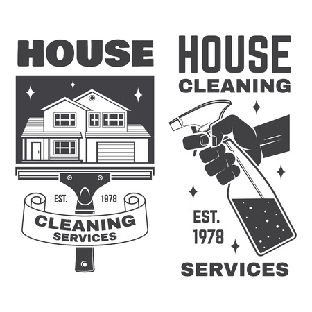 Cleaning company badge, emblem. Vector illustration. Concept for shirt, stamp or tee. Vintage typography design with cleaning equipments. Cleaning service sign for company related business Stock Vector - 115981694