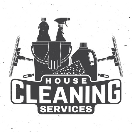 Cleaning company badge, emblem. Vector illustration. Concept for shirt, stamp or tee. Vintage typography design with cleaning equipments. Cleaning service sign for company related business Stock Vector - 115981695