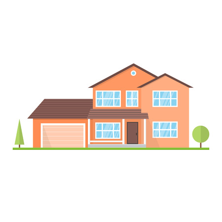 Vector flat icon suburban american house. For web design and application interface, also useful for infographics. Family house icon isolated on white background. 일러스트