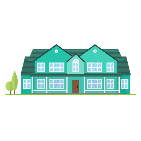 Vector flat icon suburban american house. For web design and application interface, also useful for infographics. Family house icon isolated on white background. Illustration