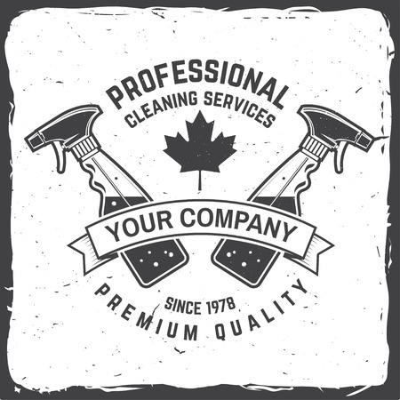 Cleaning company badge, emblem. Vector illustration. Concept for shirt, stamp or tee. Vintage typography design with cleaning equipments. Cleaning service sign for company related business Stock Vector - 115981703
