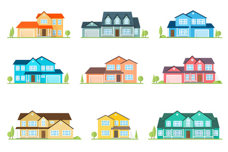 Set of vector flat icon suburban american house. For web design and application interface, also useful for infographics. Family house icon isolated on white background. Home facade with color roof Çizim