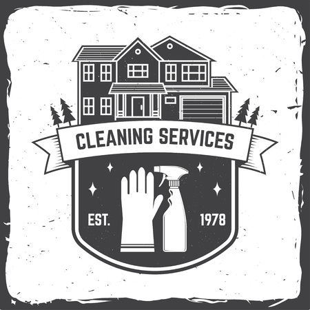 Cleaning company badge, emblem. Vector illustration. Concept for shirt, stamp or tee. Vintage typography design with cleaning equipments. Cleaning service sign for company related business Stock Vector - 119591144