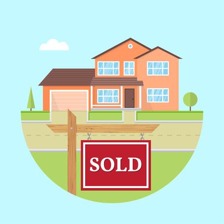 Schönes amerikanisches Haus auf blauem Hintergrund mit VERKAUFT-Schild. Für Webdesign und Anwendungsschnittstelle, auch nützlich für Infografiken. Familienhaus-Symbol auf weißem Hintergrund. Grundeigentum.