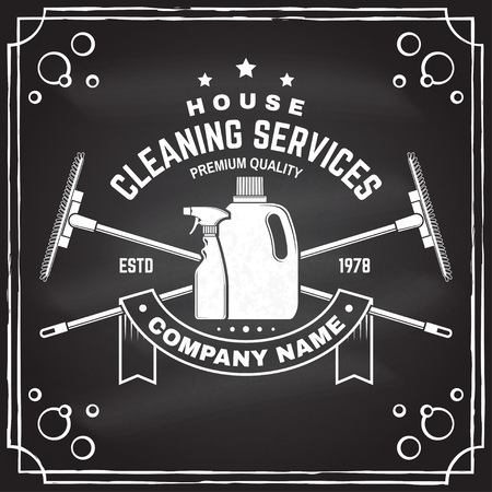 Cleaning company badge, emblem. Vector illustration. Concept for shirt, stamp or tee. Vintage typography design with cleaning equipments. Cleaning service sign for company related business