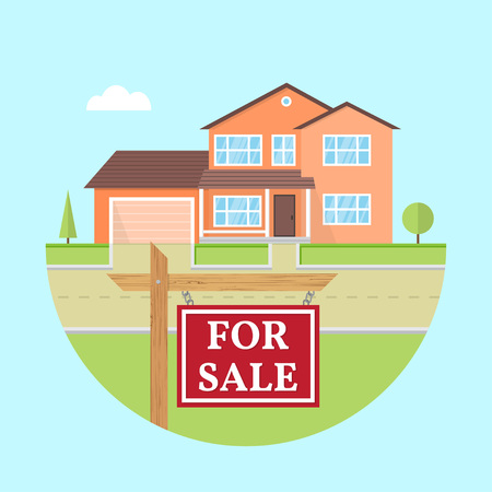 House for sale. Vector flat icon suburban american house. For web design and application interface, also useful for infographics. Family house icon isolated on white background. Real estate. Banco de Imagens - 116195752