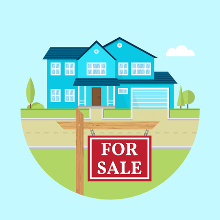 House for sale. Vector flat icon suburban american house. For web design and application interface, also useful for infographics. Family house icon isolated on white background. Real estate. Illustration