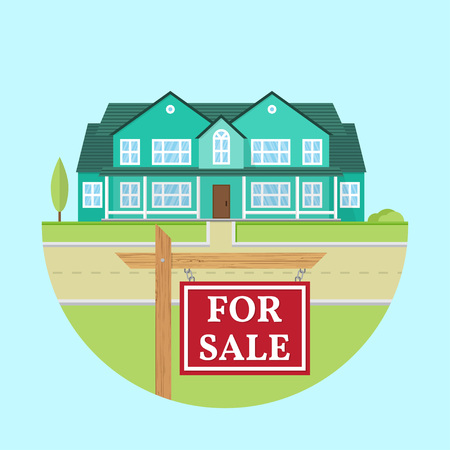 House for sale. Vector flat icon suburban american house. For web design and application interface, also useful for infographics. Family house icon isolated on white background. Real estate. Stock Illustratie