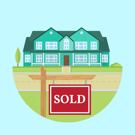 Beautiful american house on the blue background with SOLD sign. For web design and application interface, also useful for infographics. Family house icon isolated on white background. Real estate. Illustration