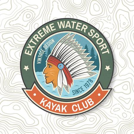 Club de kayak. Vecteur. Concept pour patch, badge, impression, timbre ou tee. Conception de typographie vintage avec silhouette amérindienne. Sports nautiques extrêmes. Emblèmes d'aventure en plein air, patchs de kayak.