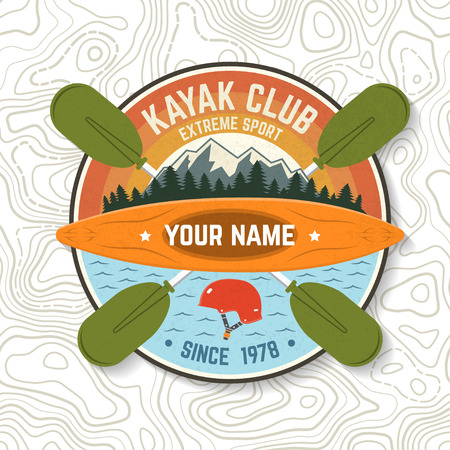 Kayak Club. Vector illustration. Concept for patch, print, stamp or tee. Vintage typography design with mountain, helmet and boat silhouette. Extreme water sport kayak patches