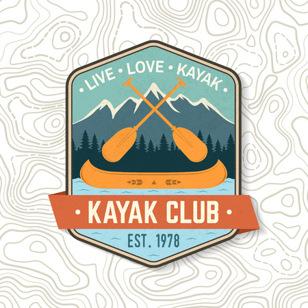 Kayak Club. Live, love, kayak. Vector. Concept for shirt, stamp or tee. Vintage design with mountain, paddles and boat silhouette. Extreme water sport. Outdoor adventure emblems, patches.