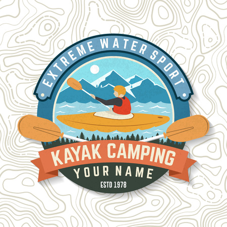 Kayak club. Vector. Concept for patch, badge, print, stamp or tee. Vintage typography design with american indian silhouette. Extreme water sport. Outdoor adventure emblems, kayak patches.