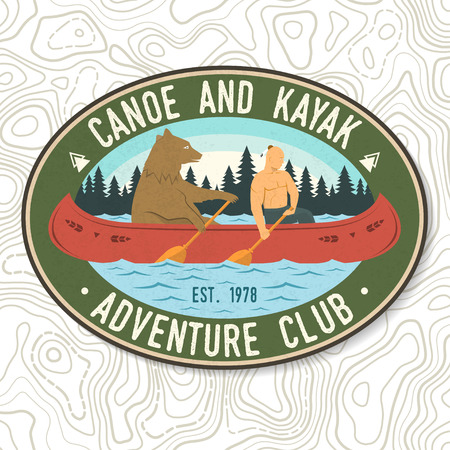 Canoe and Kayak club. Vector. Concept for shirt, stamp or tee. Vintage typography design with kayaker and bear silhouette. Extreme water sport. Outdoor adventure emblems, kayak patches. Ilustração