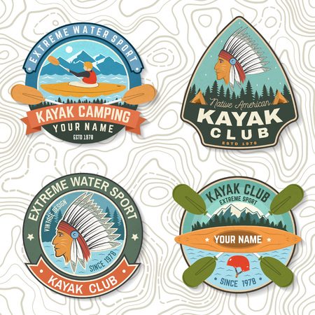 Set of canoe and kayak club badges Vector. Concept for patch, shirt, stamp or tee. Vintage design with mountain, river, american indian and kayaker silhouette. Extreme water sport kayak patches 向量圖像