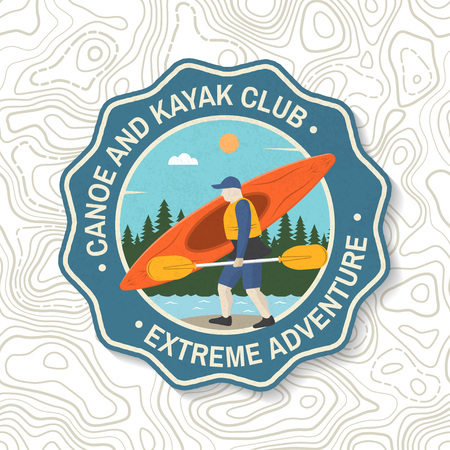 Canoe and kayak club badge. Vector Concept for shirt, patch or tee. Vintage typography design with kayaker silhouette. Extreme water sport. Outdoor adventure emblems, kayak patches. 向量圖像