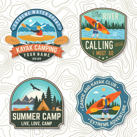Set of canoe and kayak club badges Vector. Concept for patch, shirt, stamp or tee. Vintage design with mountain, river, american indian and kayaker silhouette. Extreme water sport kayak patches Ilustração