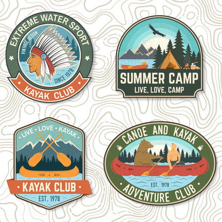 Set of canoe and kayak club badges Vector. Concept for patch, print, stamp or tee. Vintage design with mountain, river, american indian and kayaker silhouette. Extreme water sport kayak patches