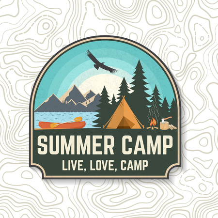 Summer camp. Vector. Concept for patch, print, stamp or tee. Vintage typography design with canoe, paddle, camping tent and forest silhouette. Extreme water sport kayak patches