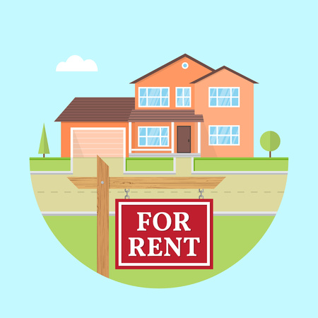 House for rent. Vector flat suburban american house. For web design and application interface, also useful for infographics. Family house icon isolated on white background. Real estate. Stock Vector - 119591700
