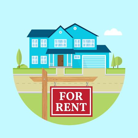 Haus zu vermieten. Vector flaches amerikanisches Vorstadthaus. Für Webdesign und Anwendungsschnittstelle, auch nützlich für Infografiken. Familienhaus-Symbol auf weißem Hintergrund. Immobilien.
