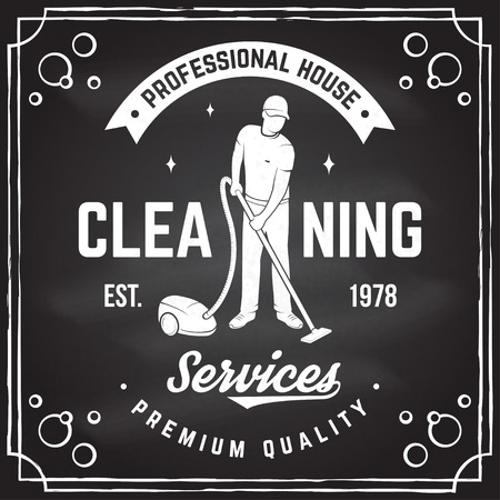 Cleaning company badge, emblem. Vector illustration. Concept for shirt, print, stamp or tee. Vintage typography design with man and Vacuum Cleaner. Cleaning service sign for company related business Illustration