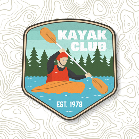 Kayak club patch. Vector illustration. Concept for shirt, stamp or tee. Vintage typography design with kayaker silhouette. Extreme water sport. Outdoor adventure emblems, kayak patches.