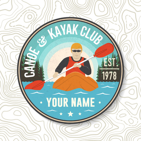 Canoe and kayak Club patch. Vector. Concept for shirt, stamp or tee. Vintage typography design with kayaker silhouette. Extreme water sport. Outdoor adventure emblems, kayak patches. Illustration