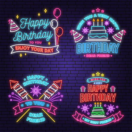 Wish you a very happy Birthday dear friend neon sign. Badge, sticker, with birthday hat, firework and cake with candles. Vector. Neon design for birthday celebration emblem. Night neon signboard