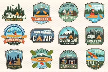 Set of summer camp, canoe and kayak club badges. Vector. For patch. Design with camping, mountain, river, american indian and kayaker silhouette. Extreme camp and water sport kayak patches 矢量图像